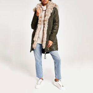 river island Womens Khaki longline faux fur parka coat (16)