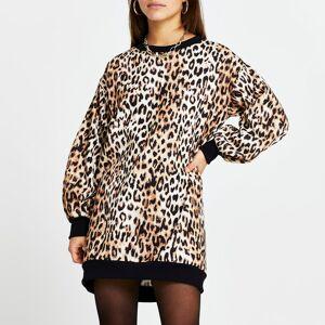 river island Womens Petite Brown leopard print mini sweater dress (12)