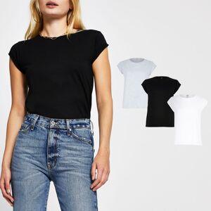 river island Womens Black multi-coloured t-shirts 3 pack (8)
