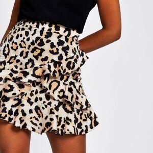 river island Womens Brown leopard print frill mini skirt (10)