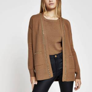 river island Womens Brown chain embellished cardigan (XS)