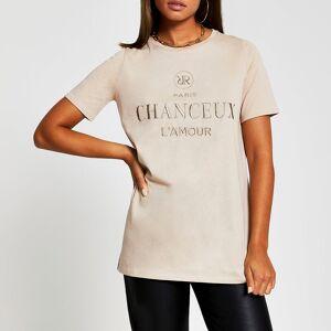 river island Womens Beige short sleeve 'Chanceux' t-shirt (8)