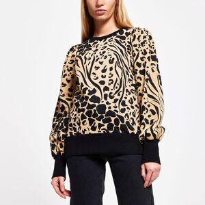river island Womens Brown puff sleeve animal print sweatshirt (XS)