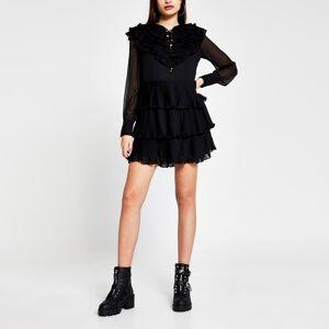 river island Womens Black Long Sleeve ruffle pleated mini dress (16)