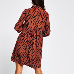 river island Womens Brown long sleeve printed smock mini dress (18)