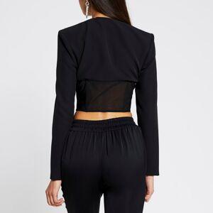 river island Womens Black long sleeve corset mesh top (14)