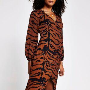 river island Womens Brown animal button wrap midi dress (14)
