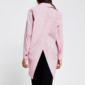 river island Womens Pink long sleeve oversized stripe shirt (XS)