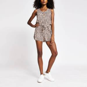 river island Womens Brown animal print keyhole detail playsuit (6)