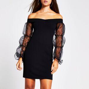 river island Womens Black bardot orgnza puff sleeve bodycon dress (10)