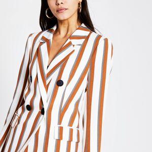 river island Womens Brown stripe double breasted blazer (10)