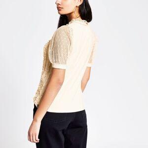 river island Womens Beige frill mesh short sleeve T-shirt (6)