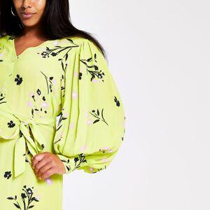 river island Womens Plus Size Green long sleeve printed midi dress (18)