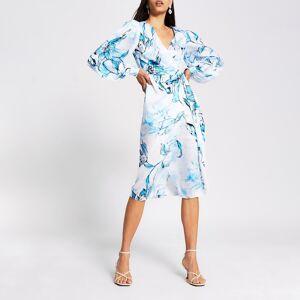 river island Womens Blue floral long sleeve wrap midi dress (12)