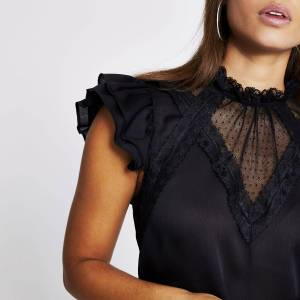 river island Womens Black lace frill sleeve sheer blouse (10)