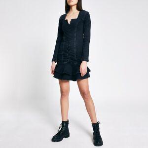 river island Womens Black ruched front frill denim mini dress (6)