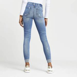 river island Womens Blue ripped Amelie mid rise skinny jeans (12S)