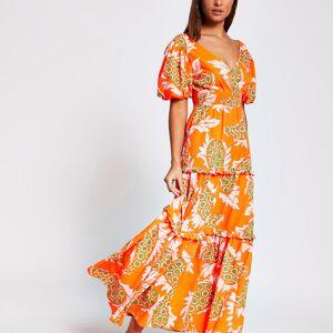 river island Womens Orange short sleeve paisley print midi dress (6)