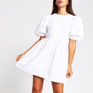 river island Womens White short puff sleeve broderie mini dress (12)