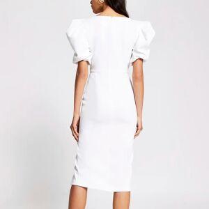 river island Womens Cream short puff sleeve fitted midi dress (18)