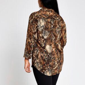 river island Womens Plus Size Brown printed shirt (20)