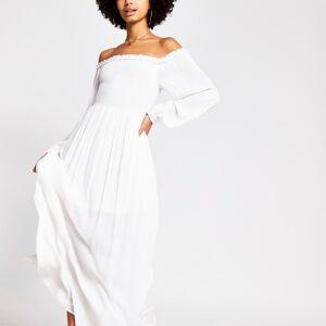river island Womens White long sleeve shirred bardot maxi dress (6)