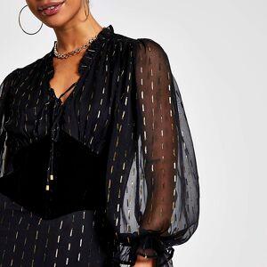 river island Womens Black long sleeve corset lurex dress (6)