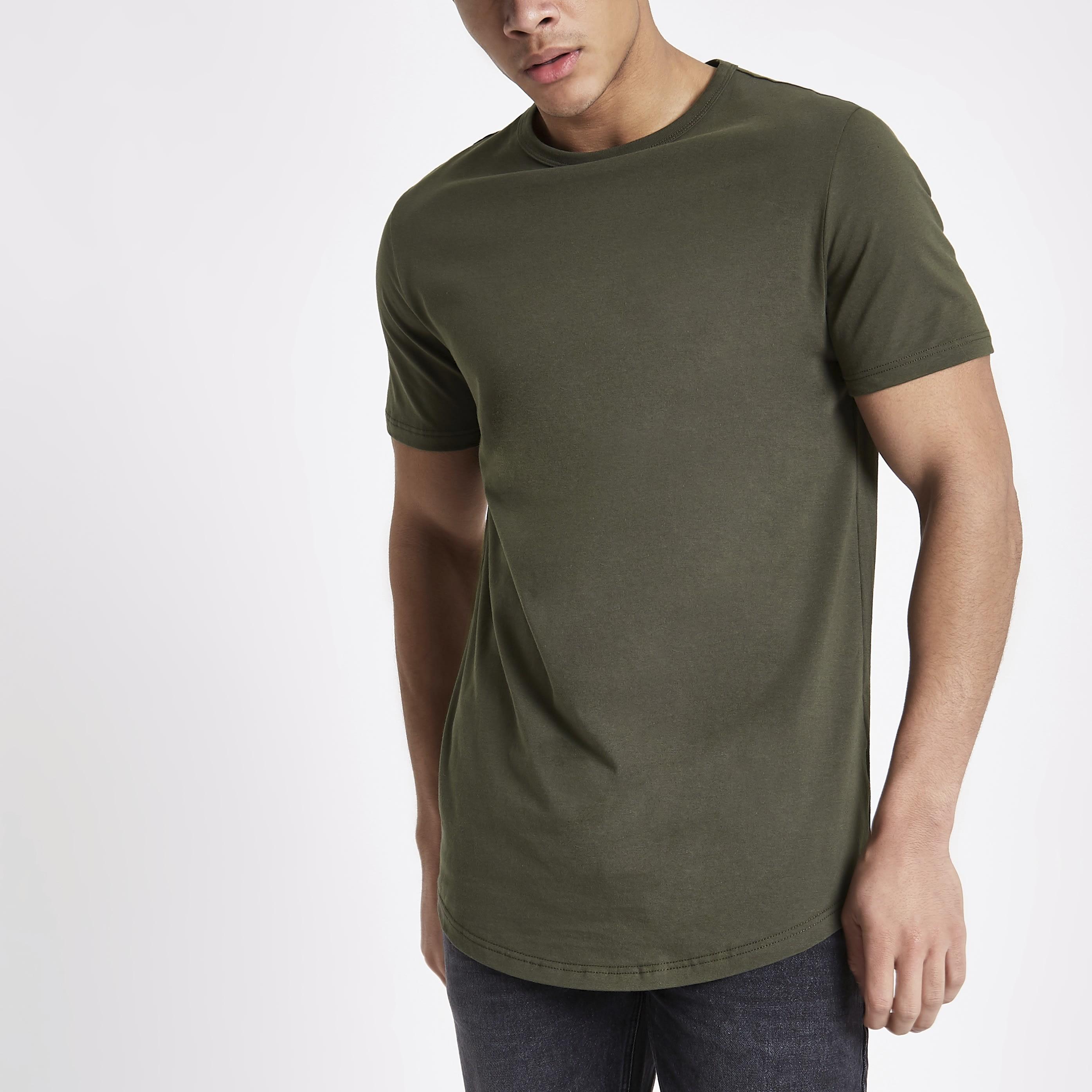 River Island Mens Khaki green curved hem longline T-shirt (S)