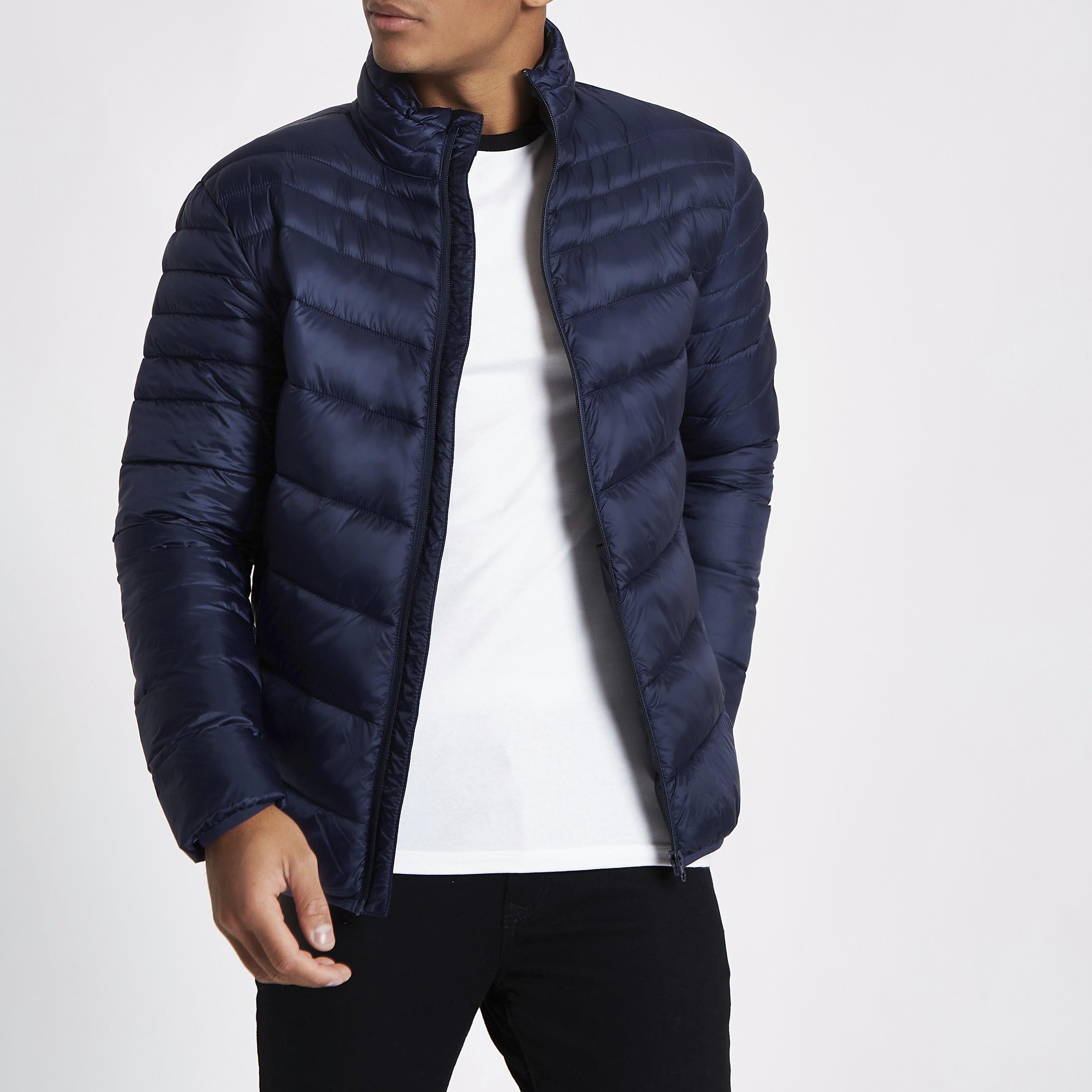 River Island Mens Navy zip front funnel neck puffer jacket (XXS)
