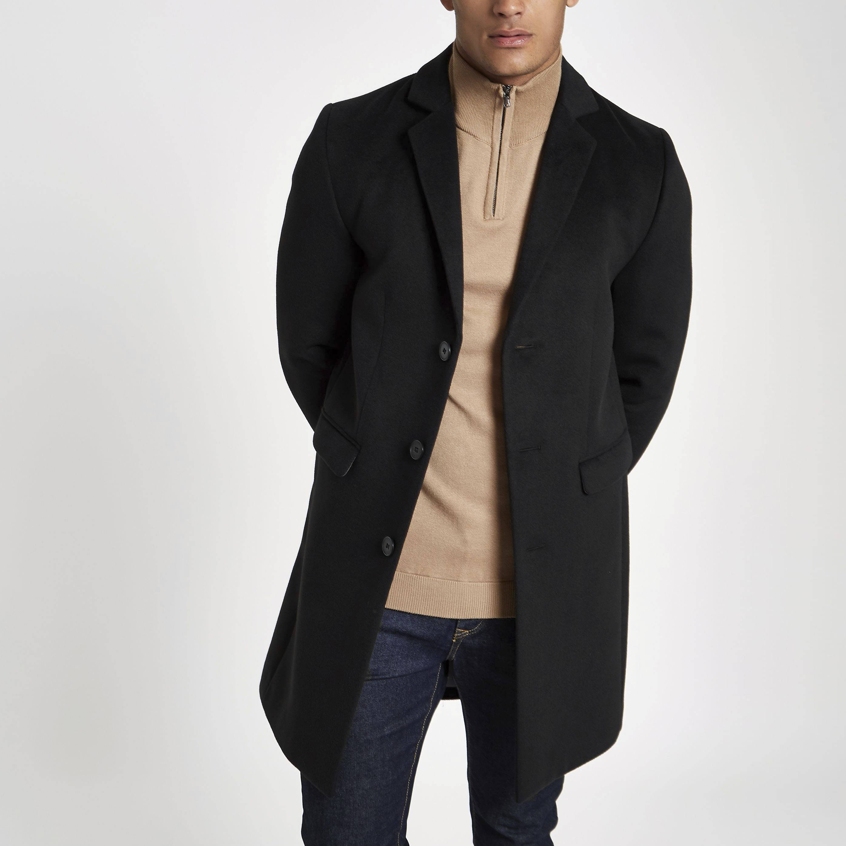 River Island Mens Black single breasted overcoat (XXS)