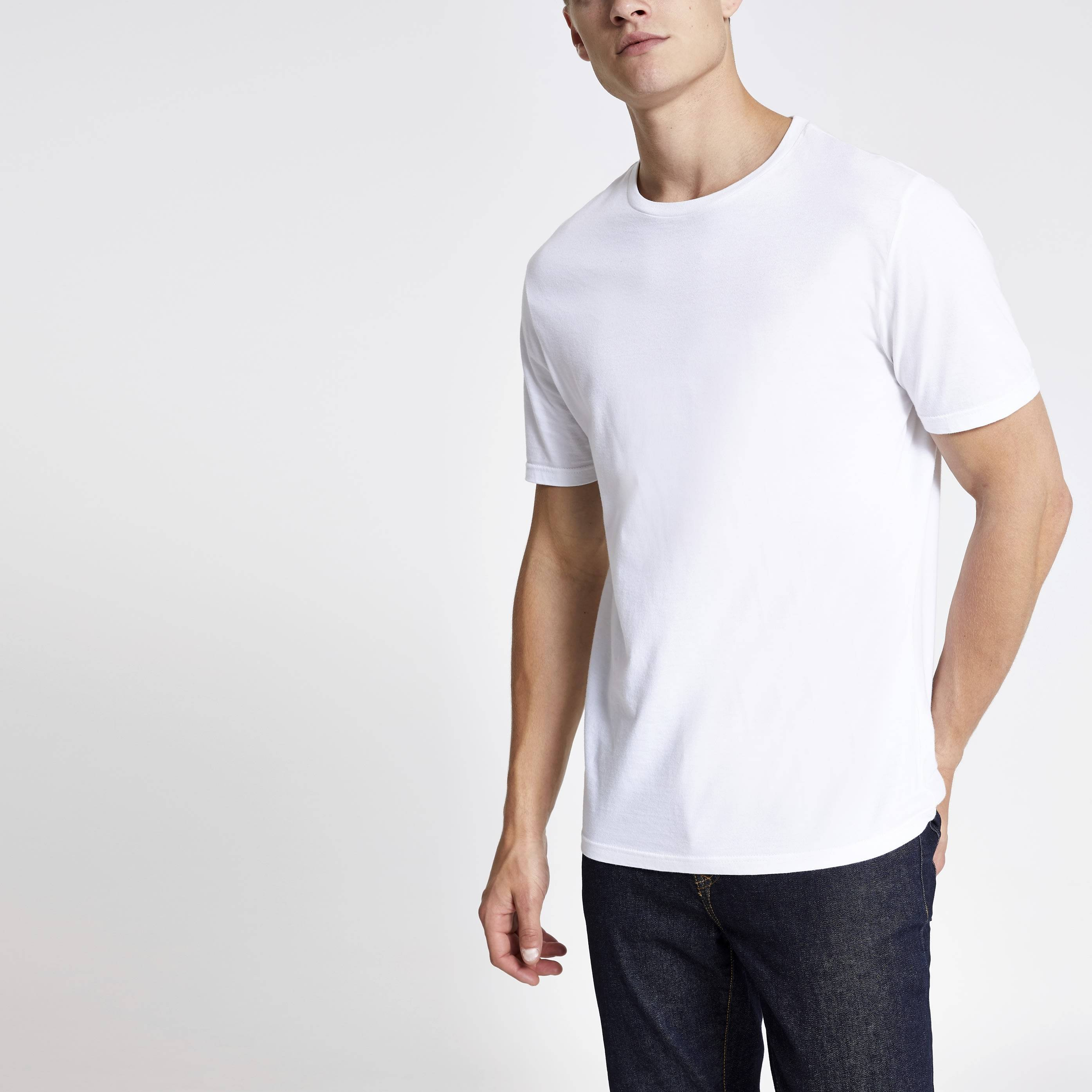 River Island Mens White slim fit crew neck T-shirt (XL)