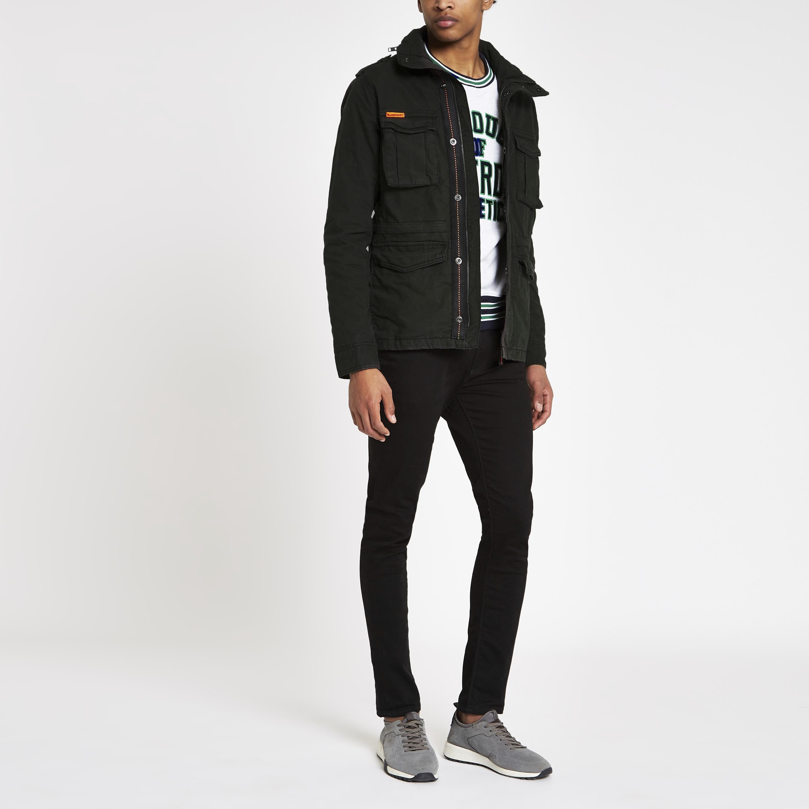 Superdry Mens Superdry Black army jacket (S)