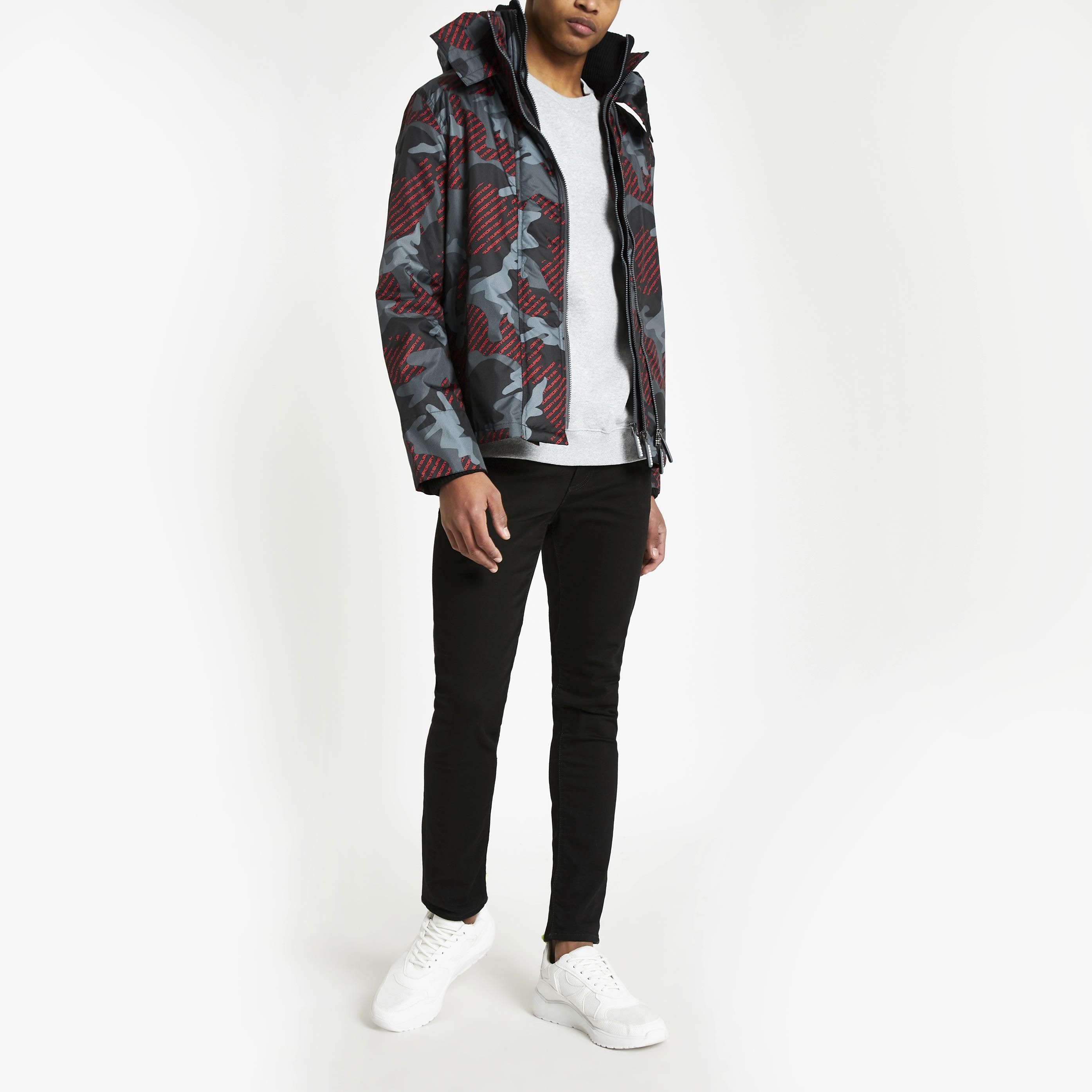 Superdry Mens Superdry Black camo hooded jacket (S)