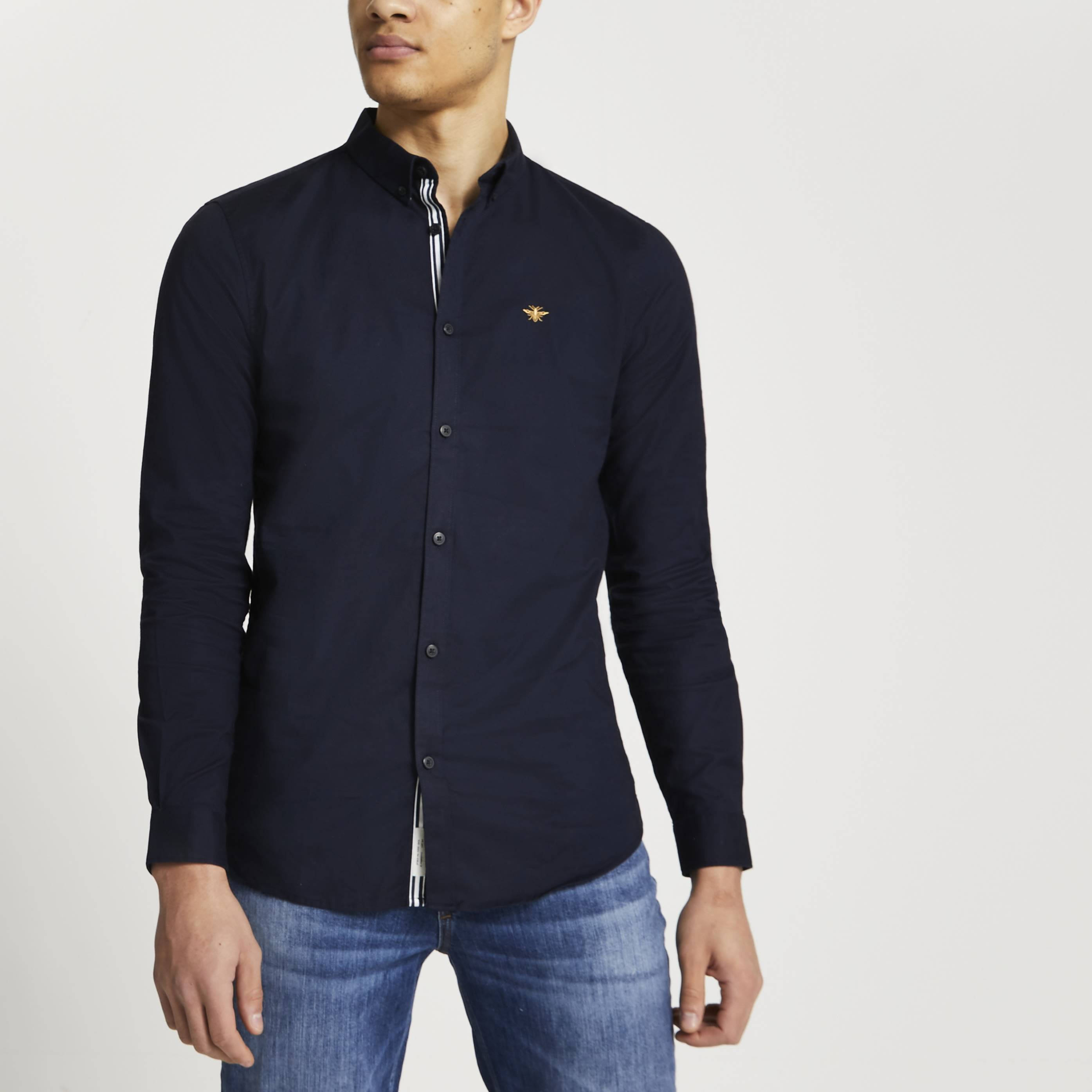 River Island Mens Navy embroidered muscle fit Oxford shirt (S)