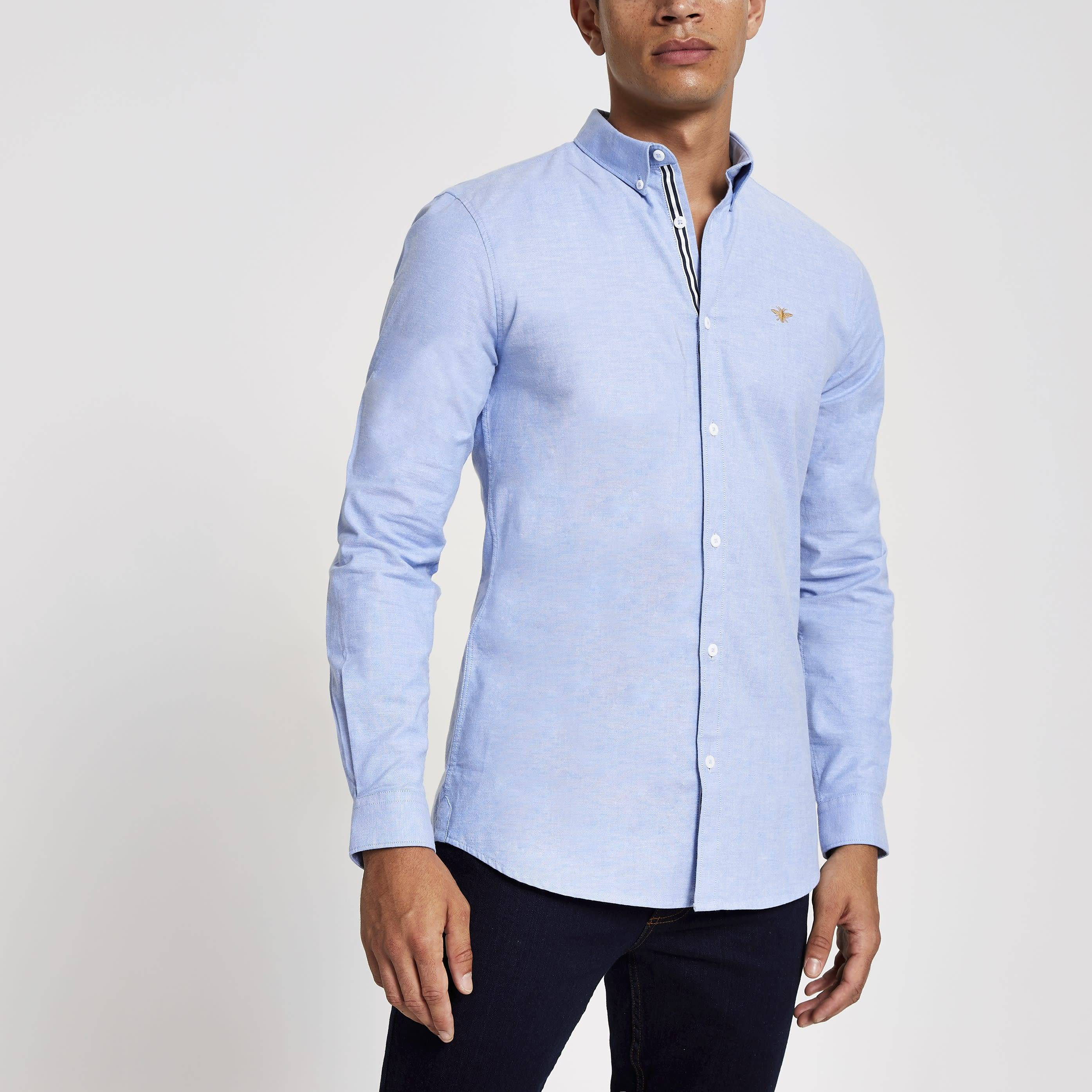 River Island Mens Blue embroidered long sleeve Oxford shirt (XS)