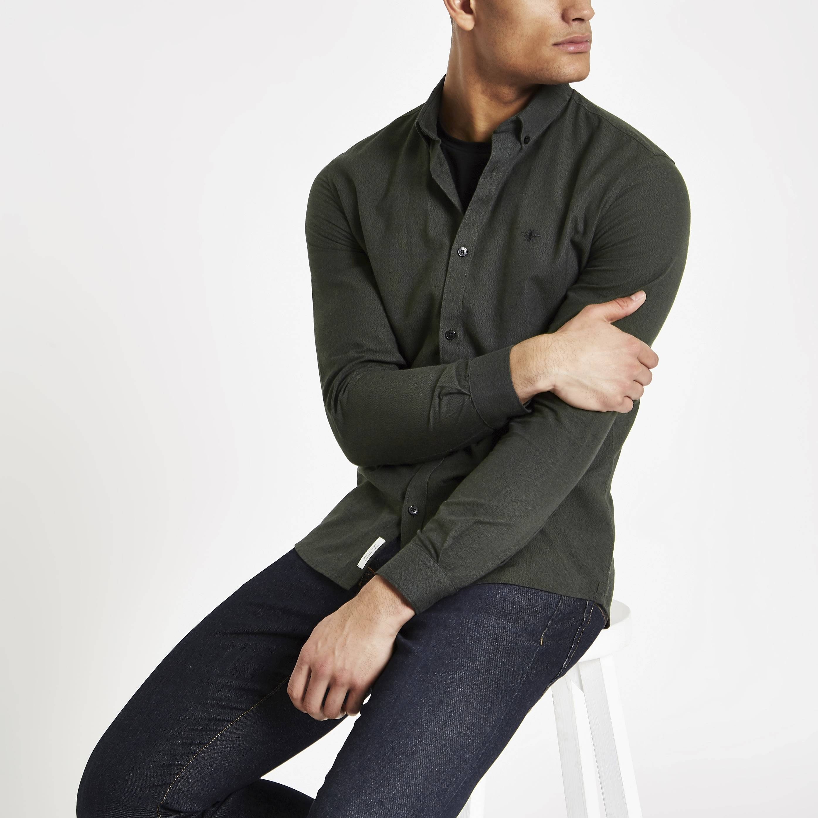 River Island Mens Khaki grindle slim fit Oxford shirt (S)