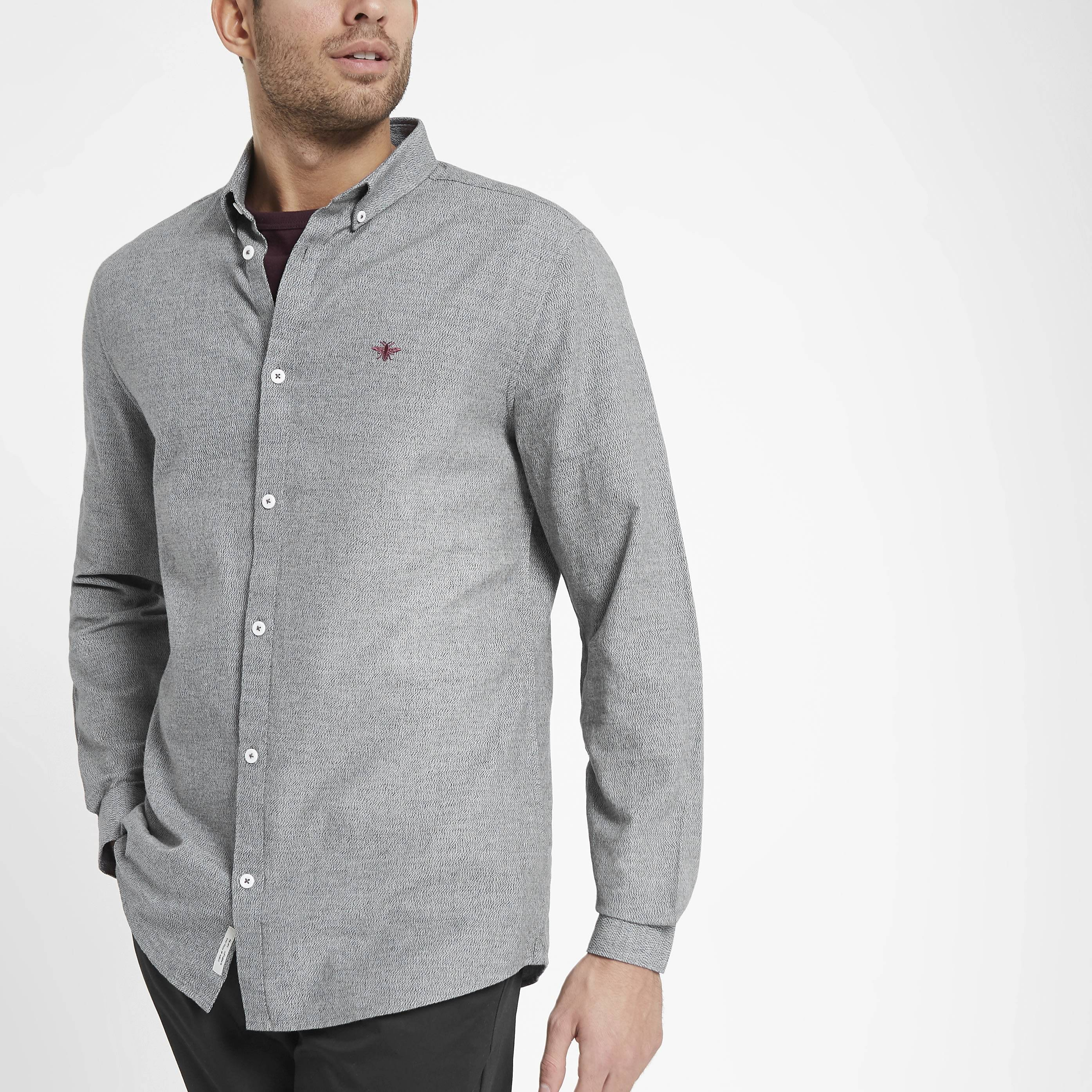 River Island Mens Grey grindle wasp embroidered Oxford shirt (XXS)