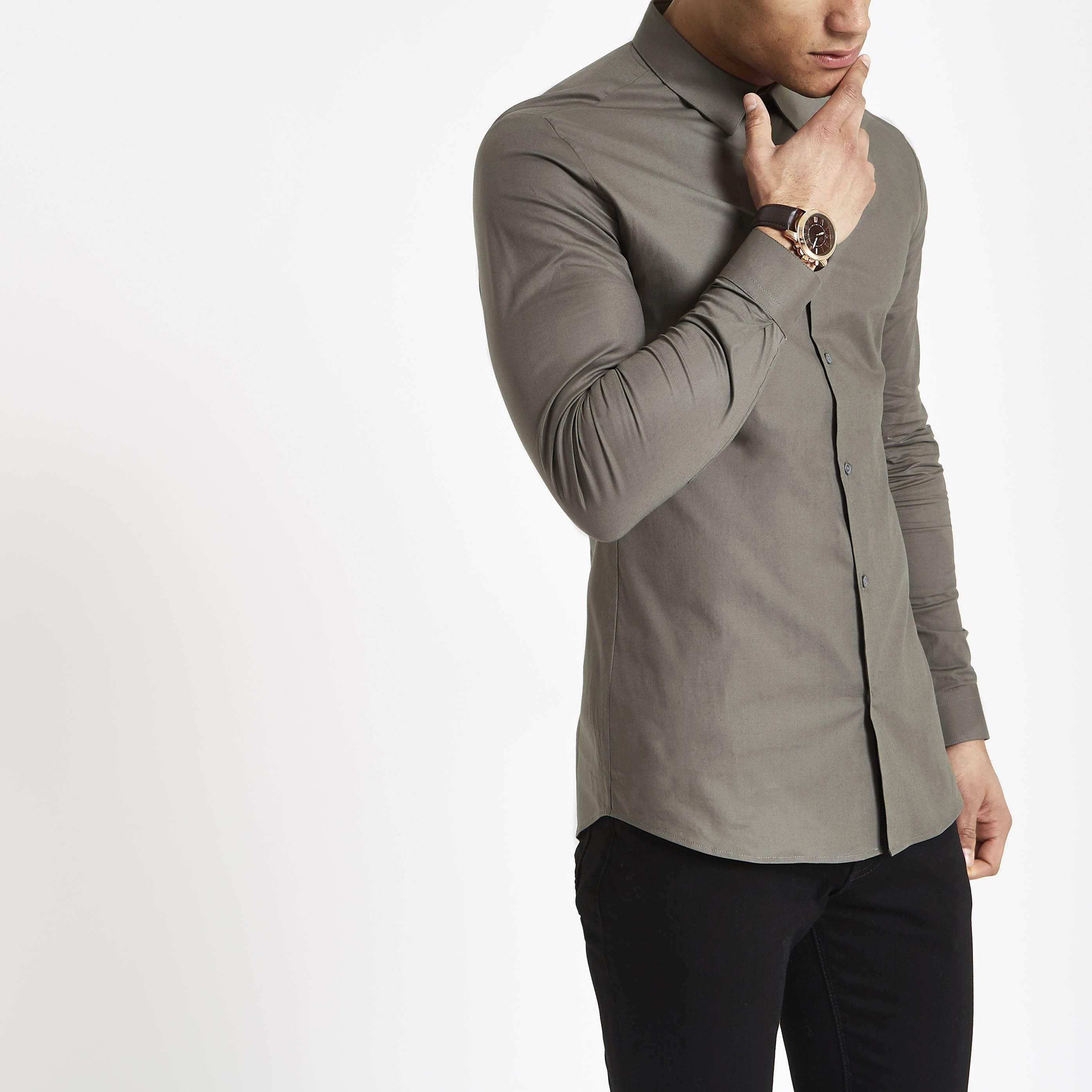 River Island Mens Green poplin muscle fit long sleeve shirt (XXL)