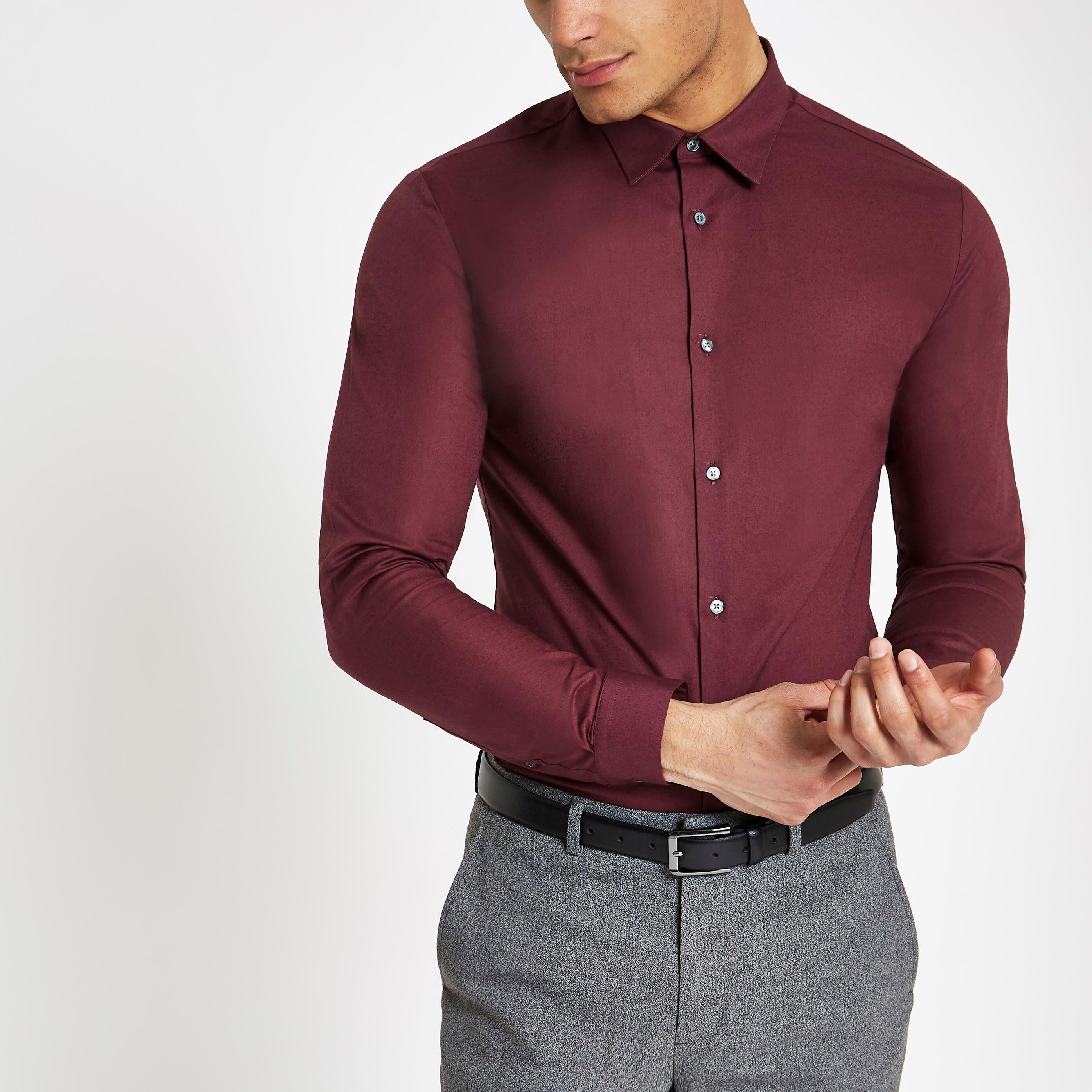 River Island Mens Burgundy muscle fit long sleeve shirt (XXL)