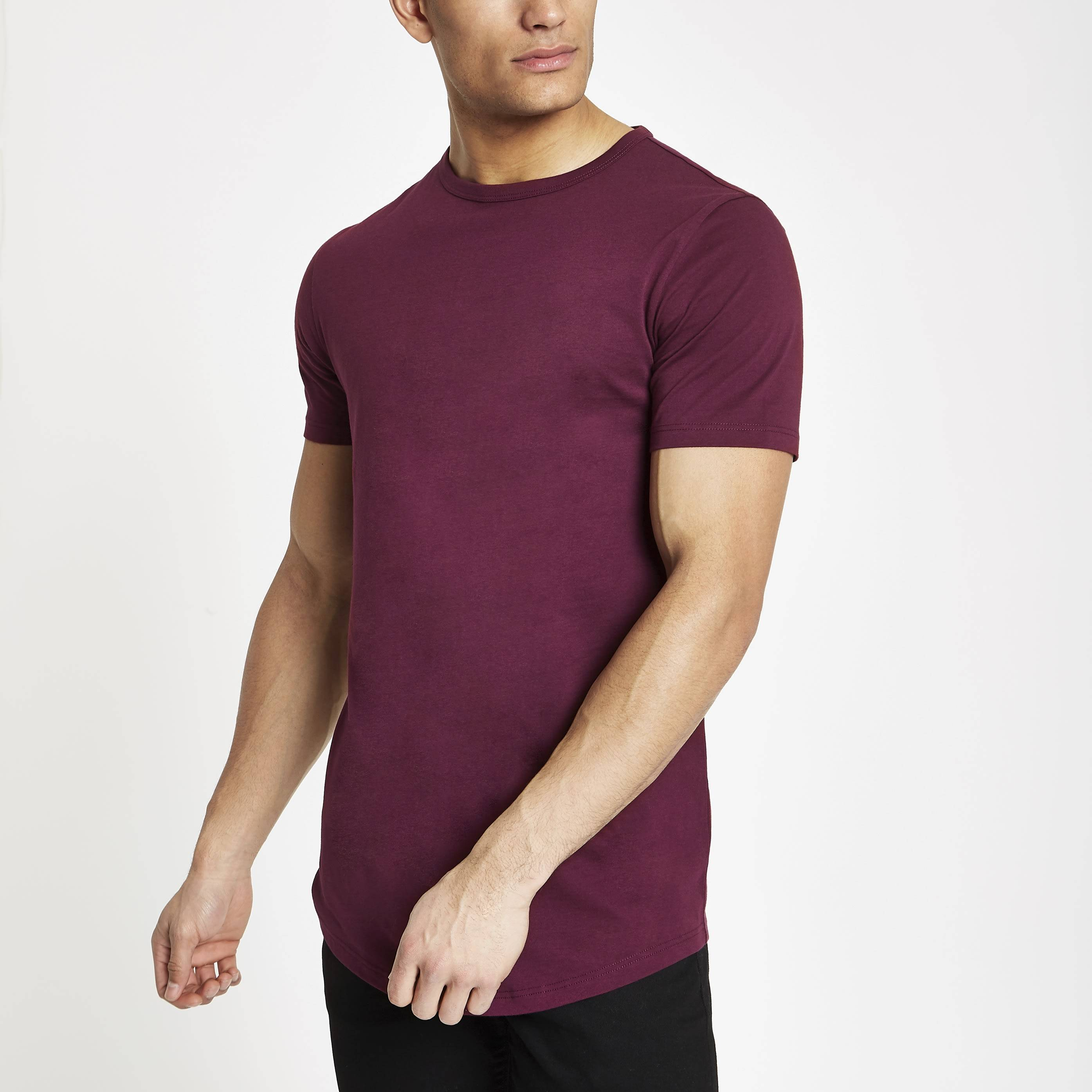 River Island Mens Red curved hem longline T-shirt (M)