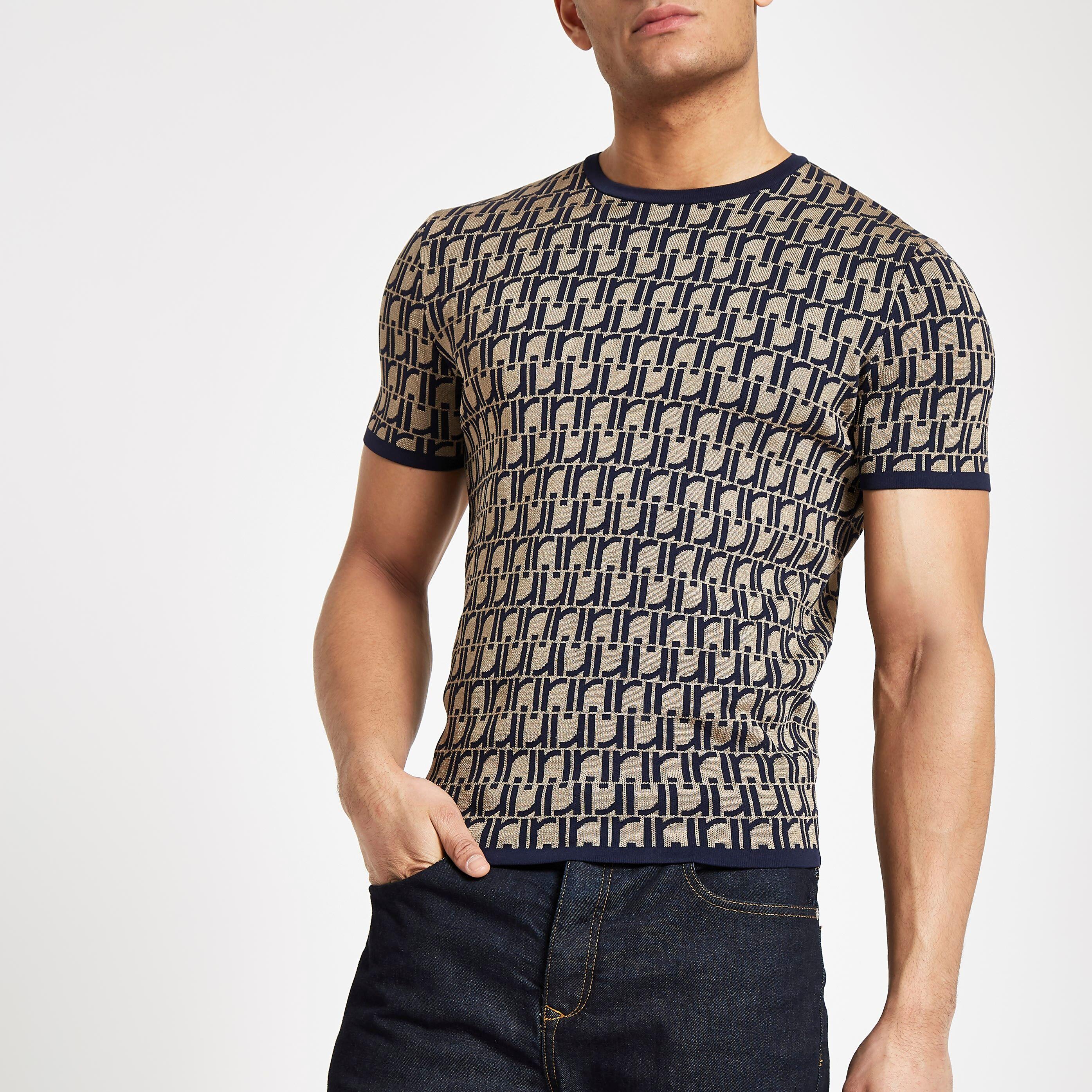 River Island Mens Brown RI monogram muscle fit knit T-shirt (M)