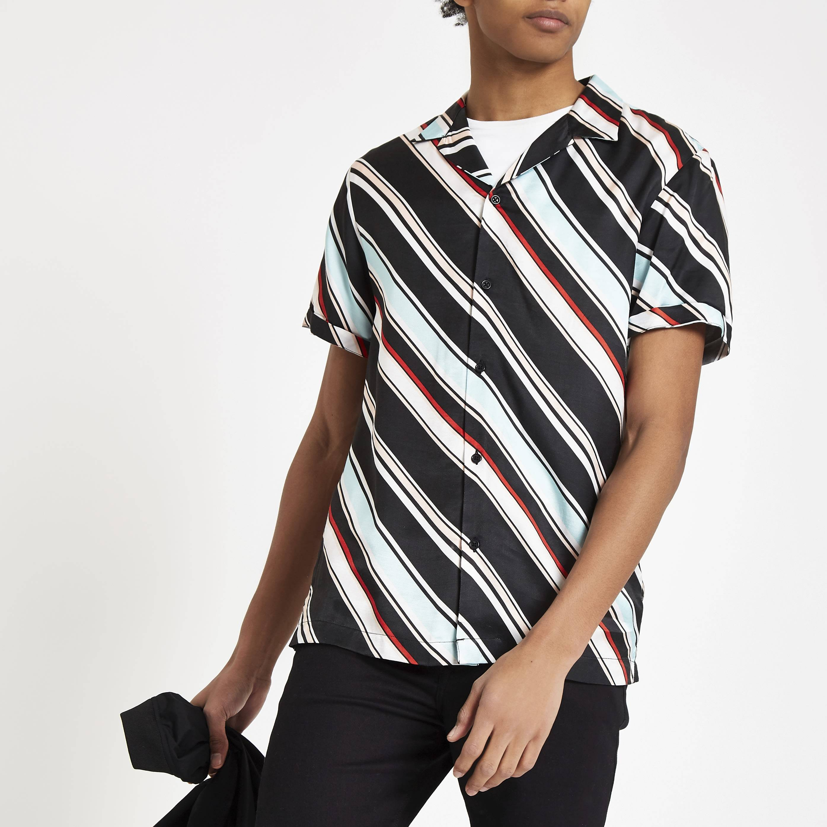River Island Mens Light Blue diagonal stripe short sleeve shirt (L)