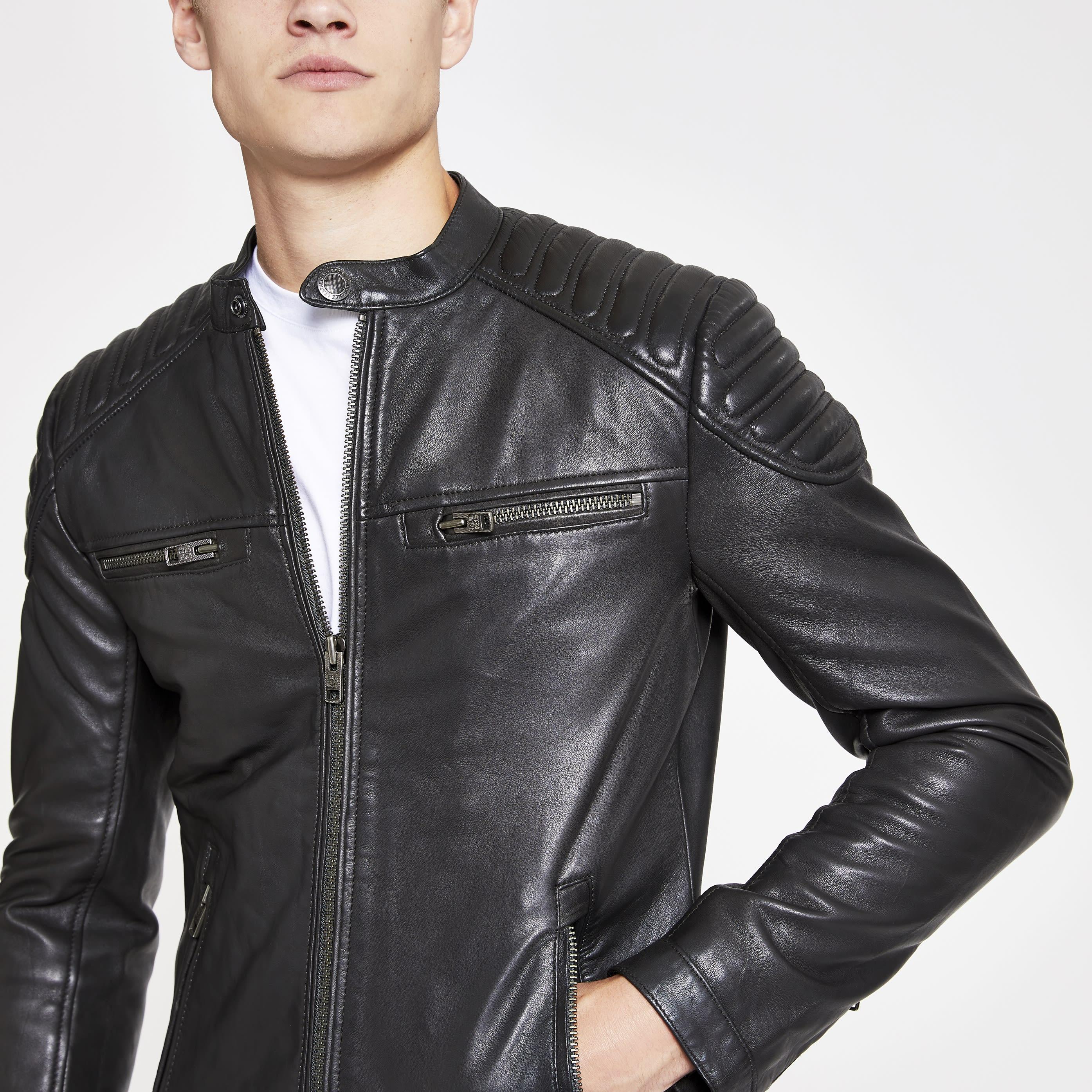 Superdry Mens Superdry Black leather jacket (S)