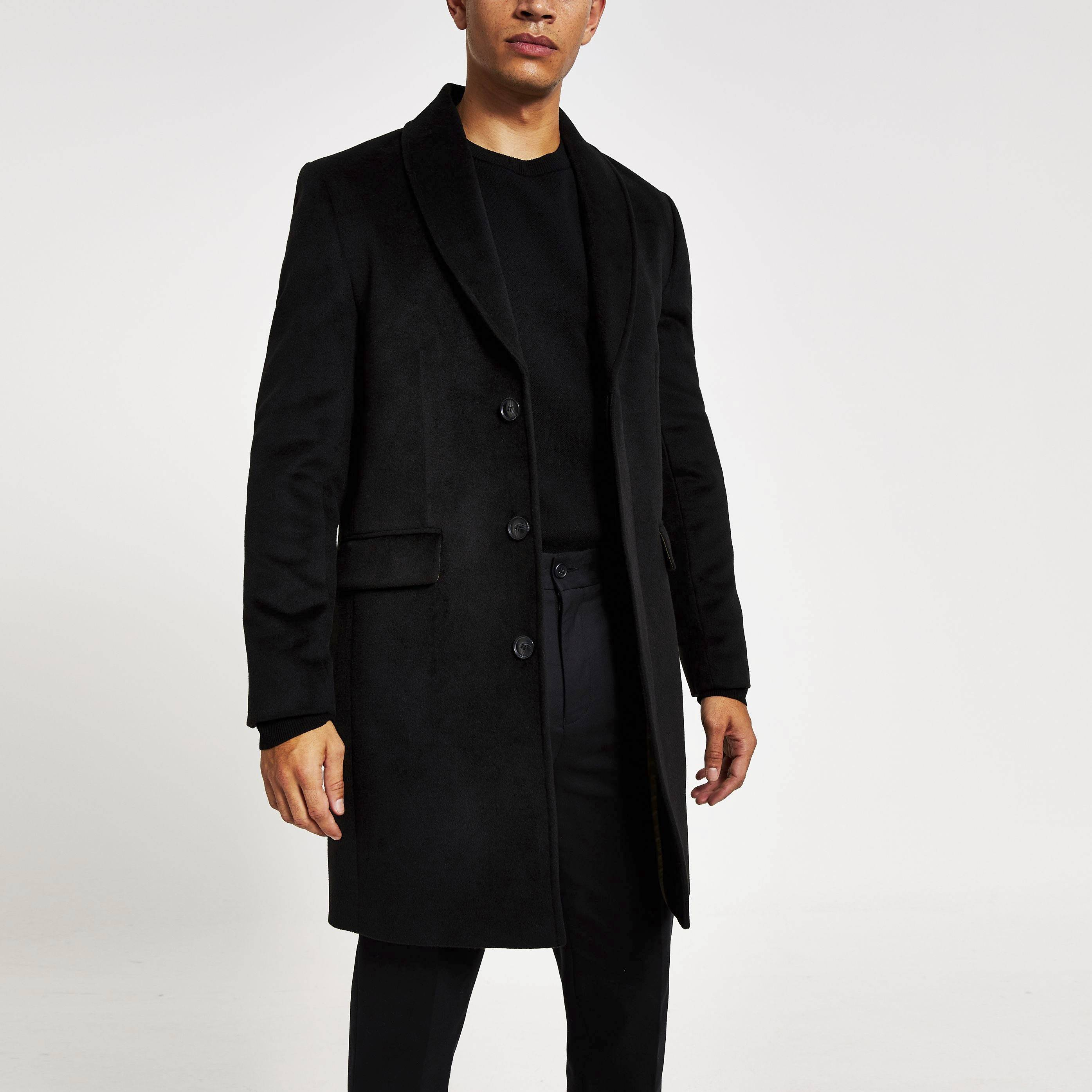 River Island Mens Black shawl collar overcoat (S)