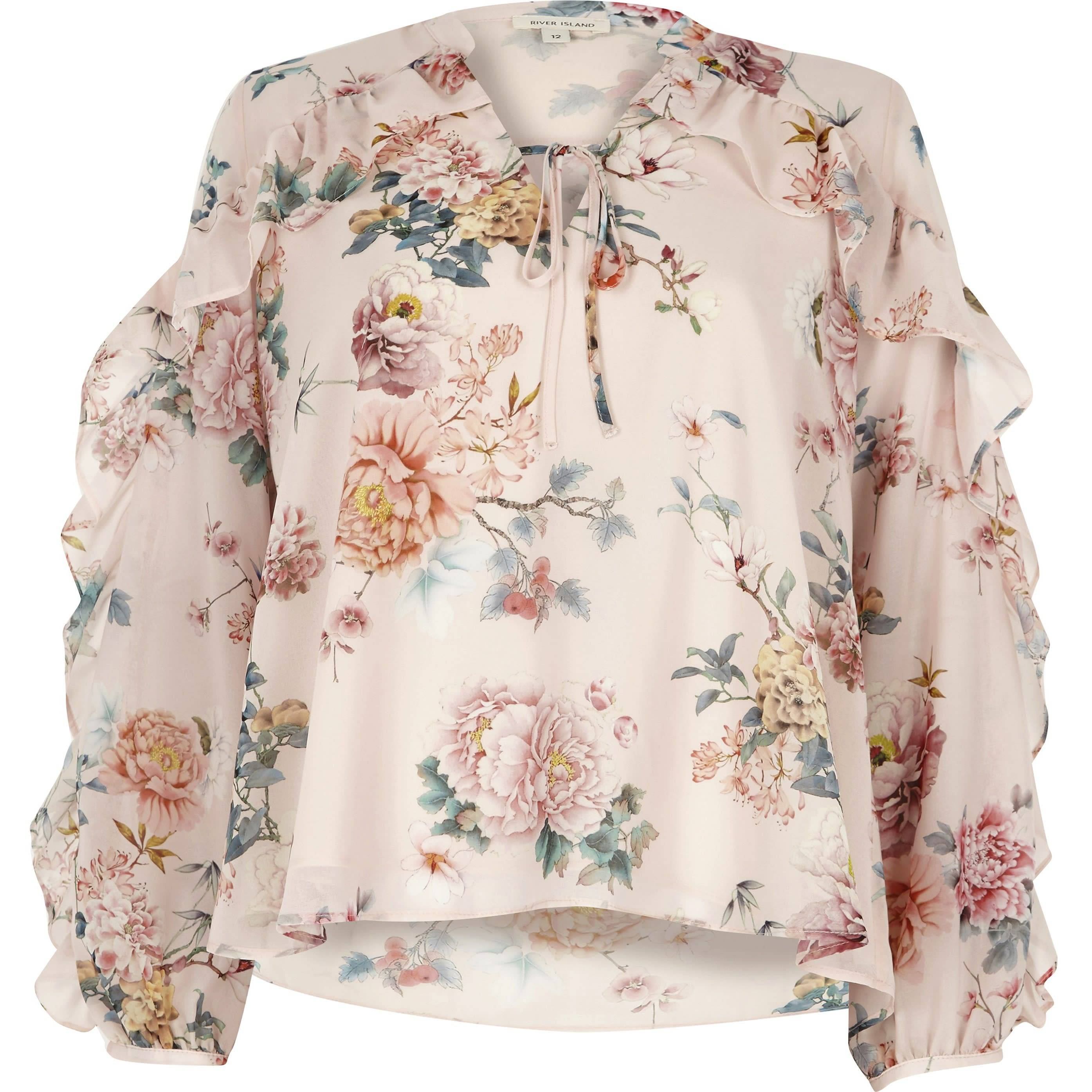 River Island Womens Pink floral print frill sleeve blouse (8)