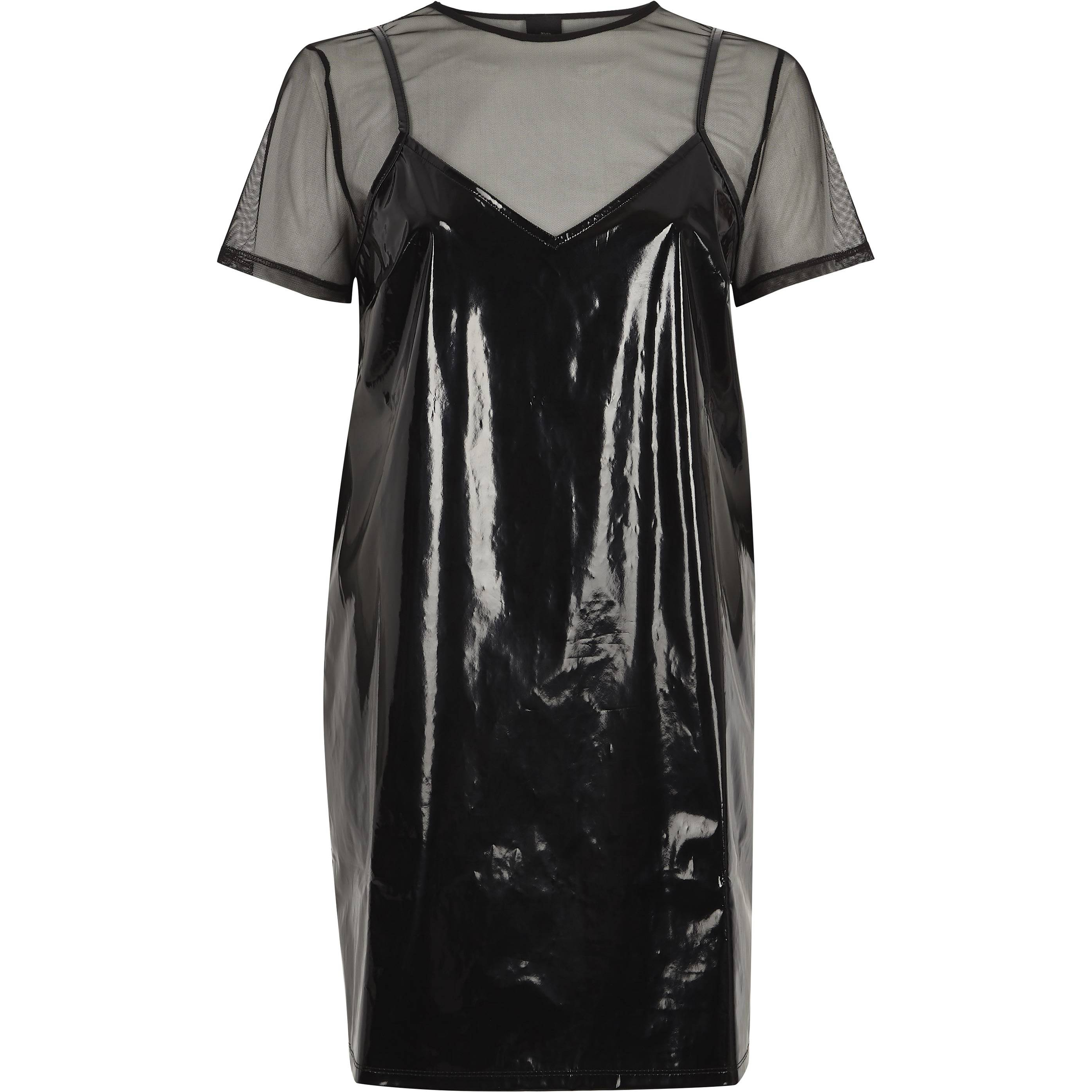 River Island Black vinyl and mesh T-shirt dress (6)