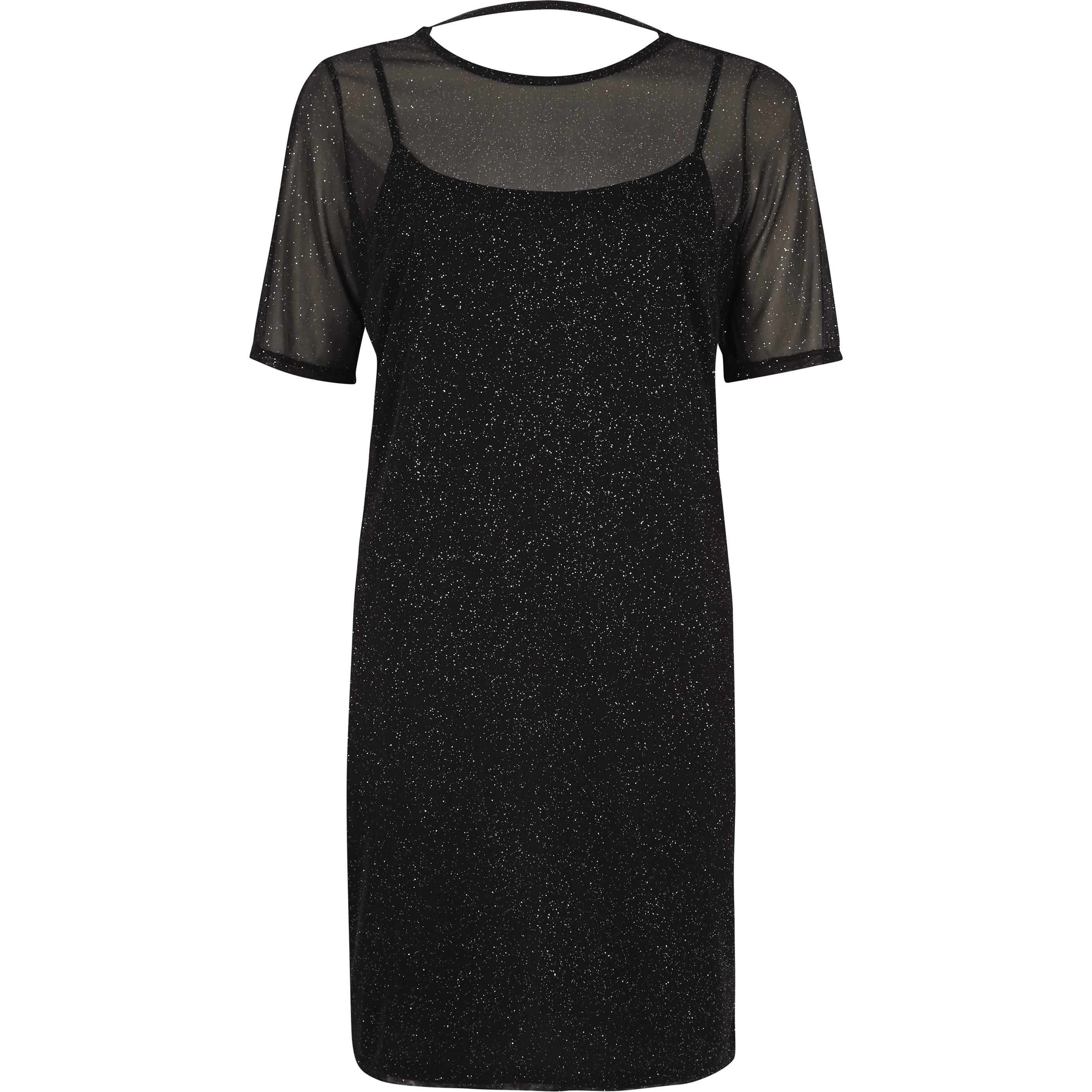 River Island Womens Black glitter mesh T-shirt dress (6)