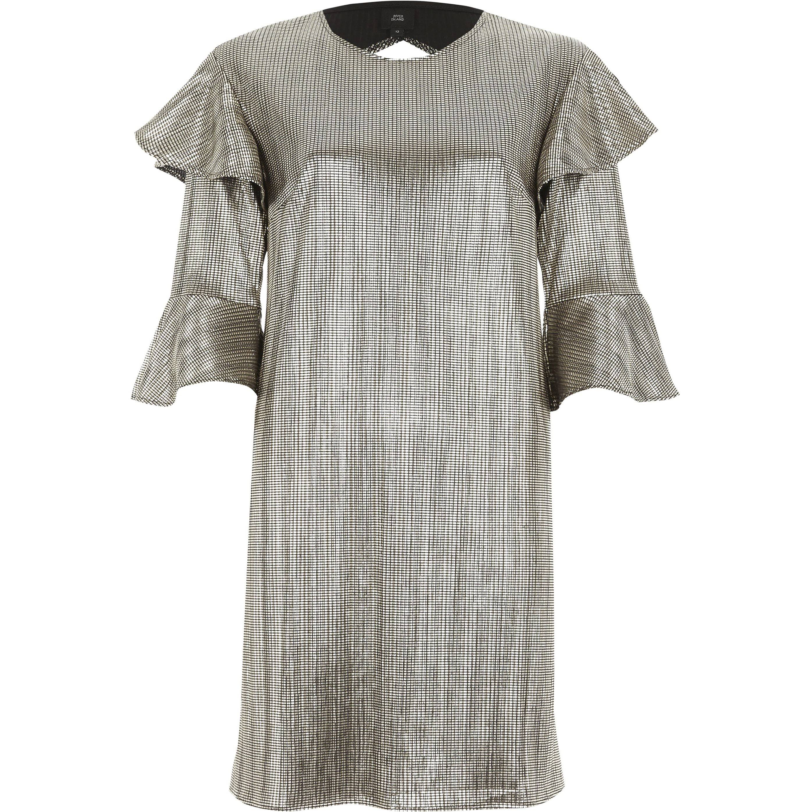 River Island Womens Gold foil frill T-shirt dress (6)