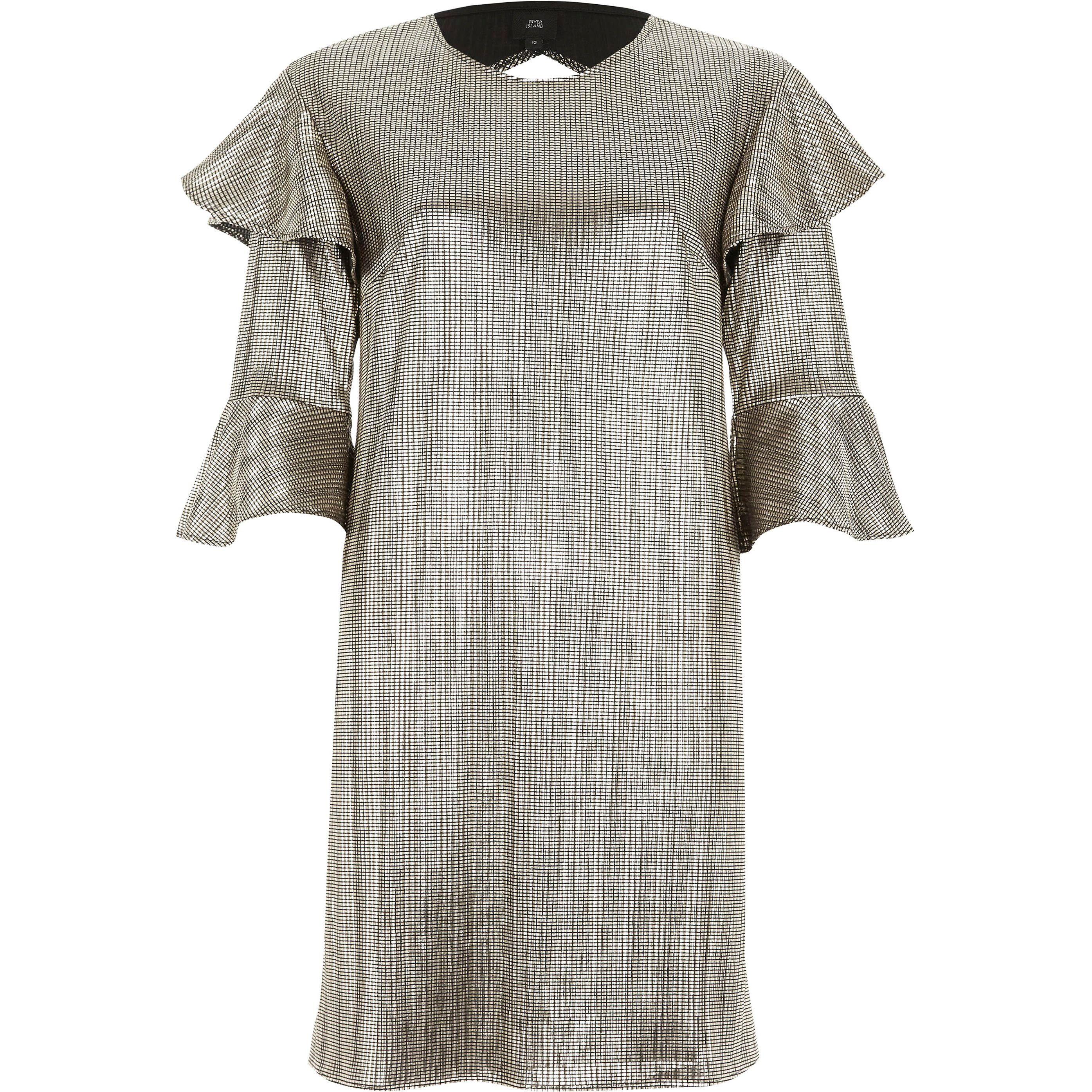 River Island Womens Gold foil frill T-shirt dress (6)