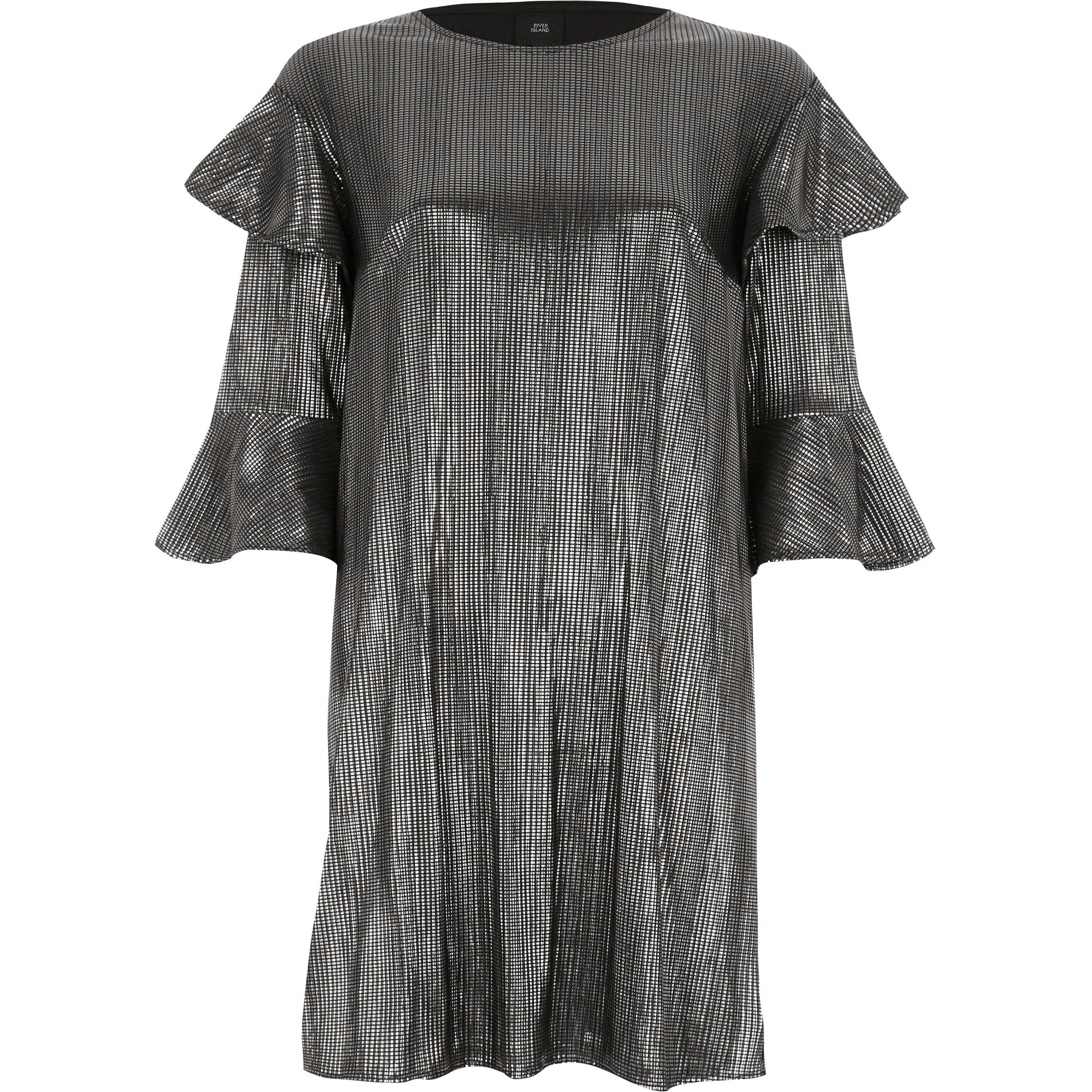 River Island Silver foil frill T-shirt dress (6)